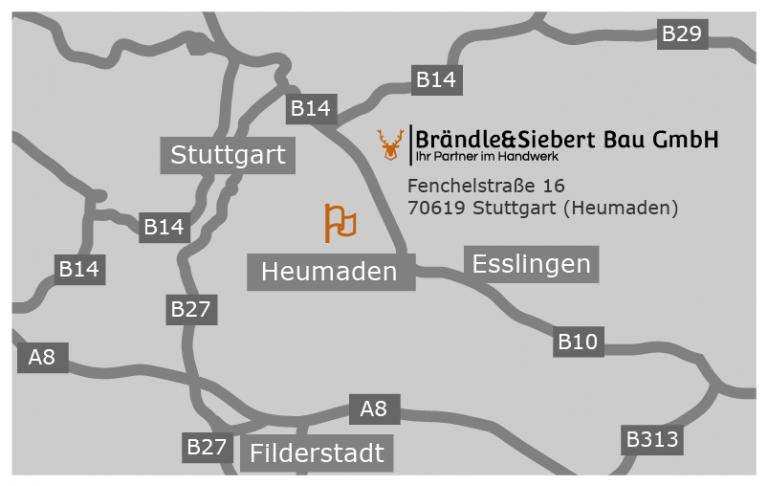 Brändle und Siebert Bau GmbH Hausrenovierung und Sanierung in Stuttgart. Anfahrt.