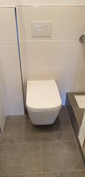 Altes Badezimmer komplett saniert mit neue Toilette.